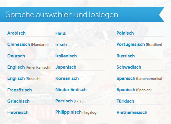 Übersicht der verfügbaren Sprachen von Rosetta Stone